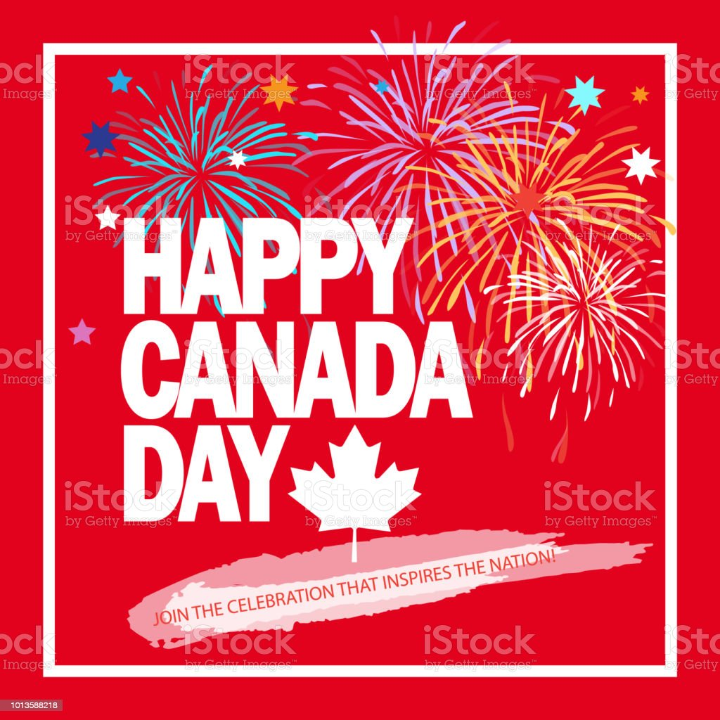 Happy Canada Day 1th of July sign vector art illustration