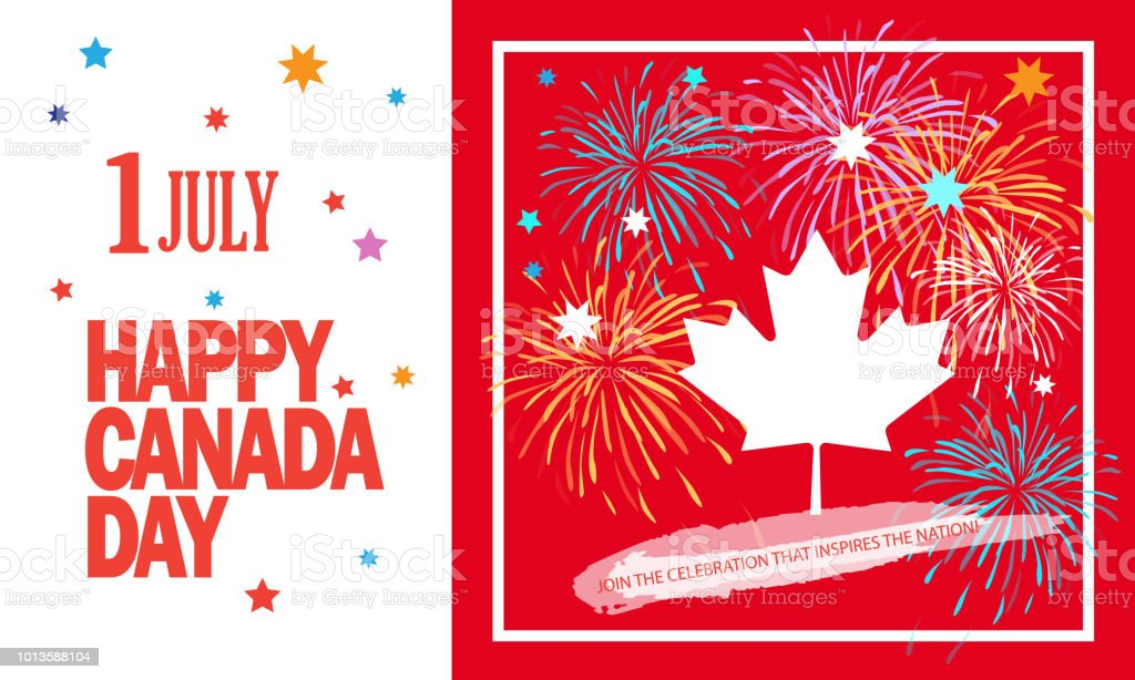 Happy Canada Day 1th of July vector art illustration