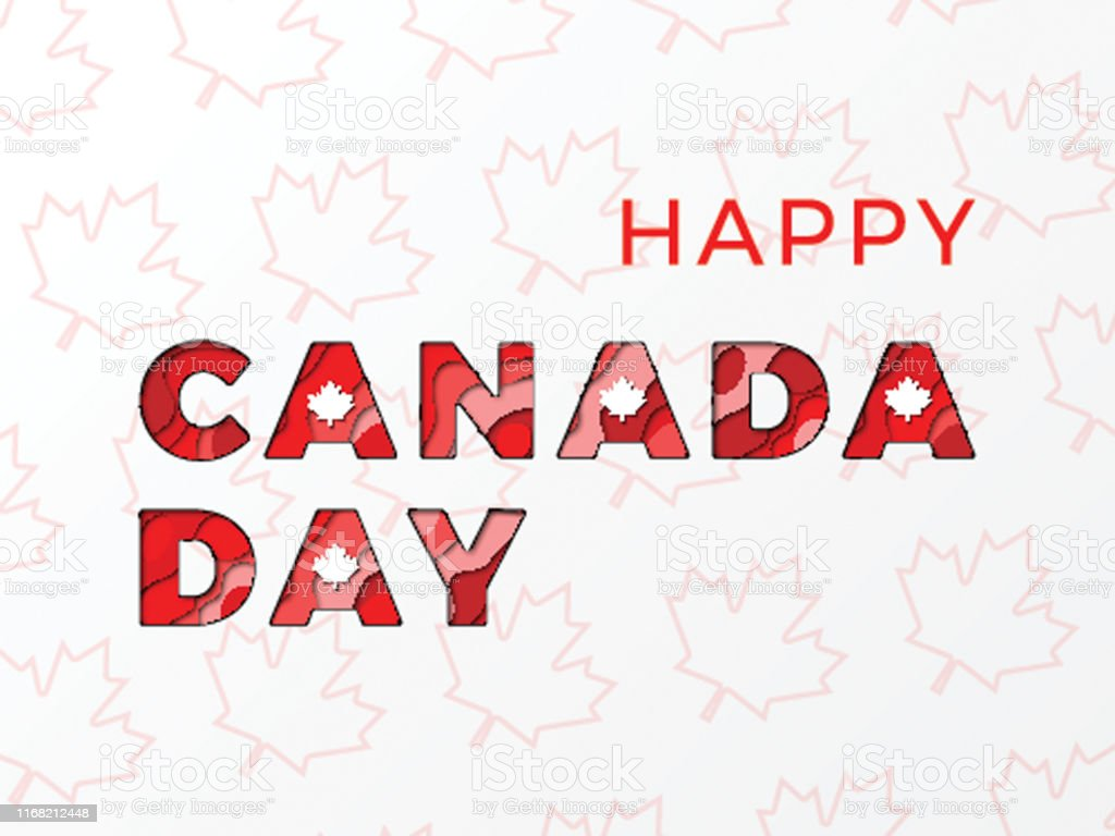 Happy Canada Day Banner Design Layout With Paper Cut Colorful ...