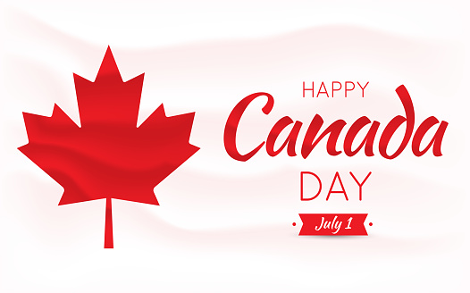 Happy Canada Day card, poster, background with mapple leaf. Vector illustration.