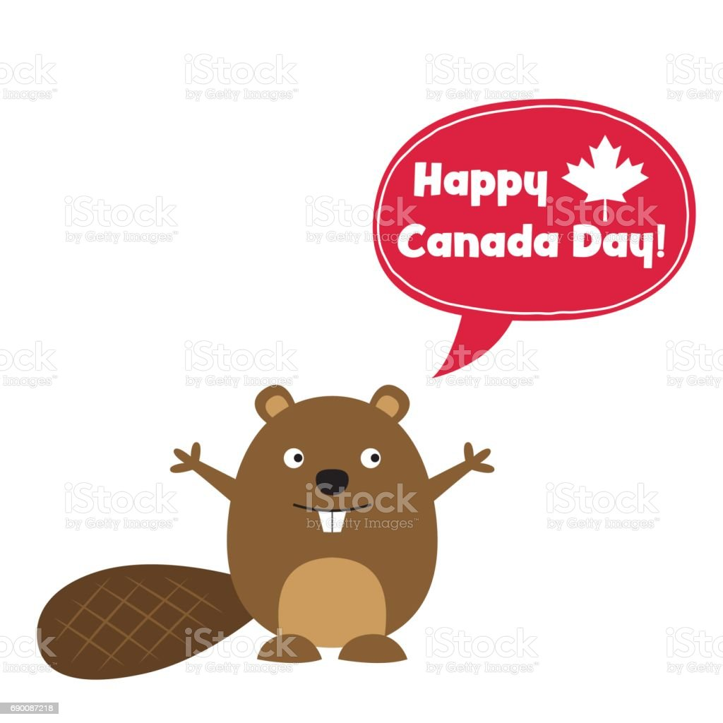 Happy Canada Day card with a cute beaver vector art illustration