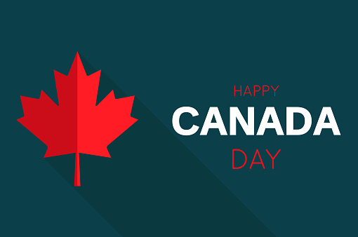 Happy Canada Day card with red maple leaf. Vector illustration.