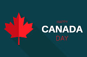 Happy Canada Day card with red maple leaf. Vector illustration. EPS10