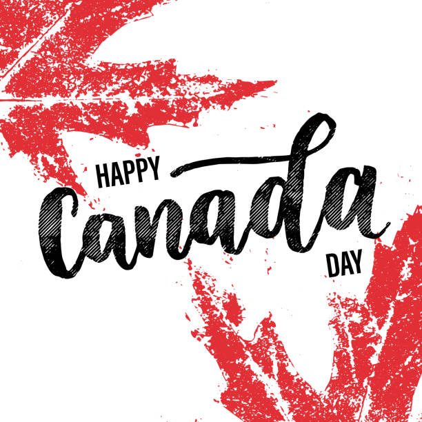 happy canada day greeting card poster - canada day stock illustrations