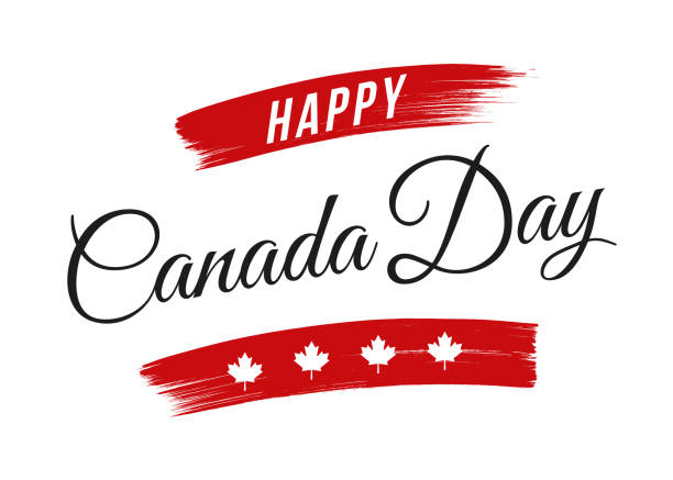 happy canada day greeting - canada day stock illustrations