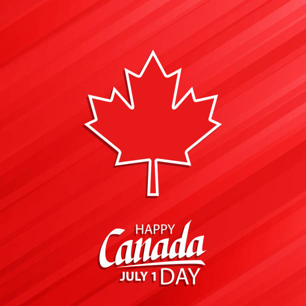 happy canada day, july 1 national holiday celebrate card with maple leaf symbol and hand lettering. - canada day stock illustrations