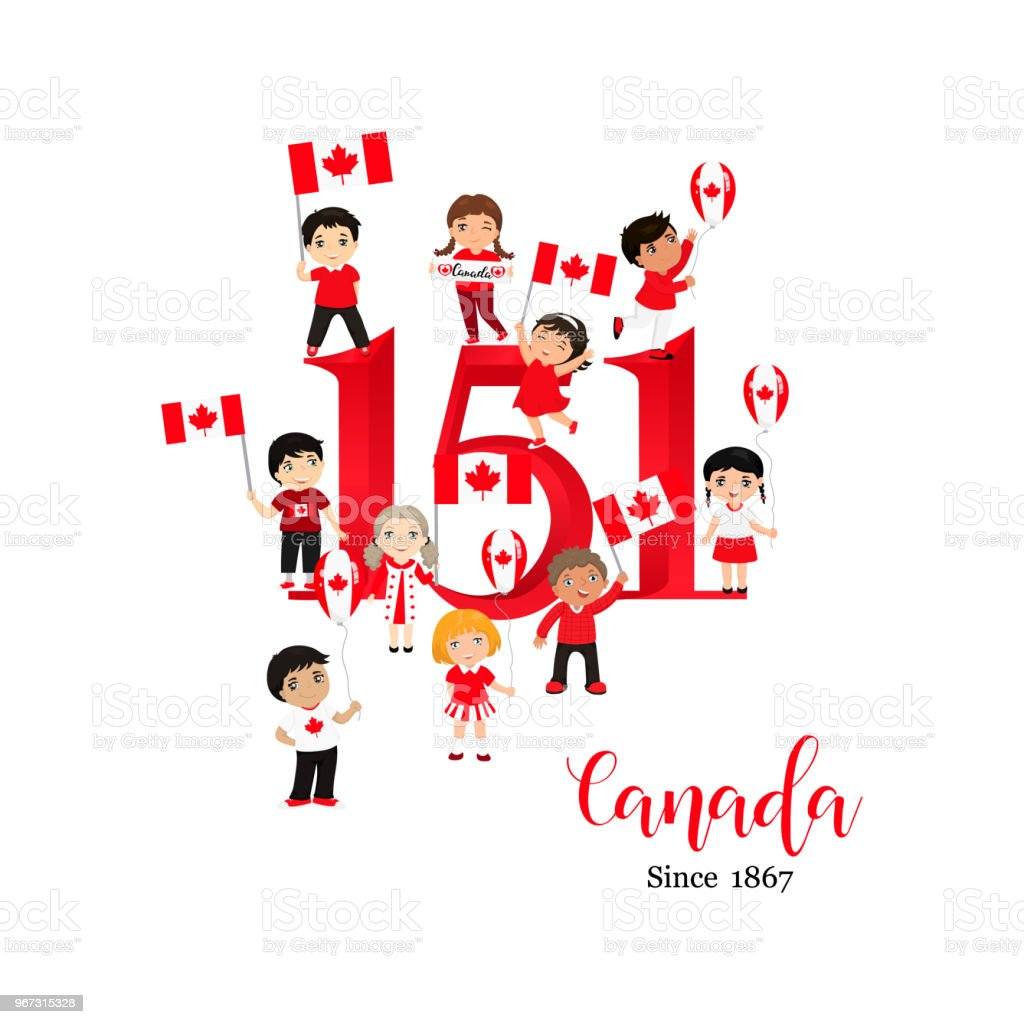 Happy Canada Day Poster 1st July Vector Illustration Greeting Card