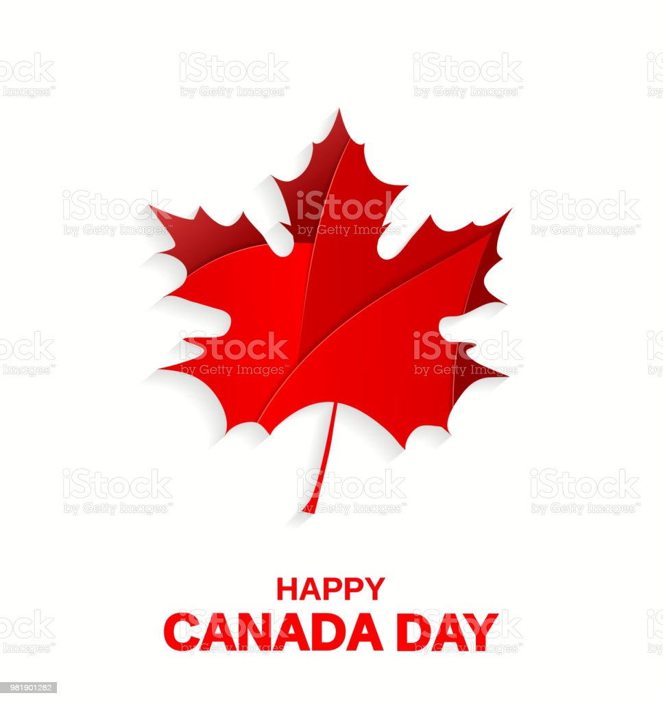 Happy Canada Day poster. Maple leaf on white background. Vector illustration. Happy Canada Day poster. Maple leaf on white background. Vector illustration. EPS10 Anniversary stock vector