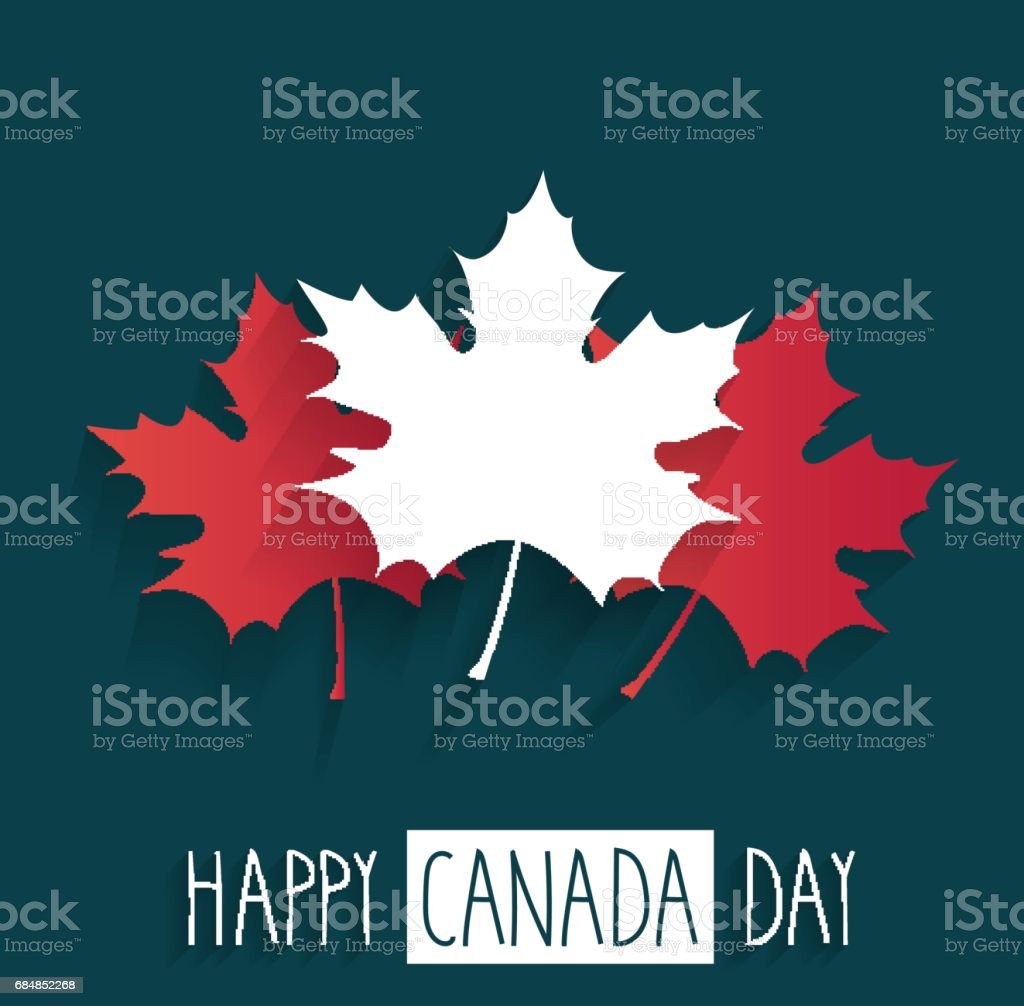Happy Canada Day Plakat auf blauem Hintergrund mit handschriftlichen text – Vektorgrafik