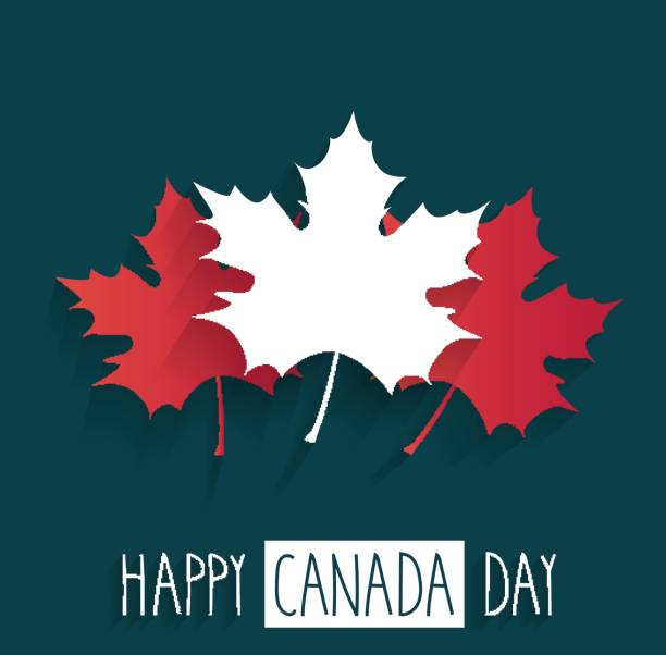happy canada day poster on blue background with handwritten text - canada day stock illustrations