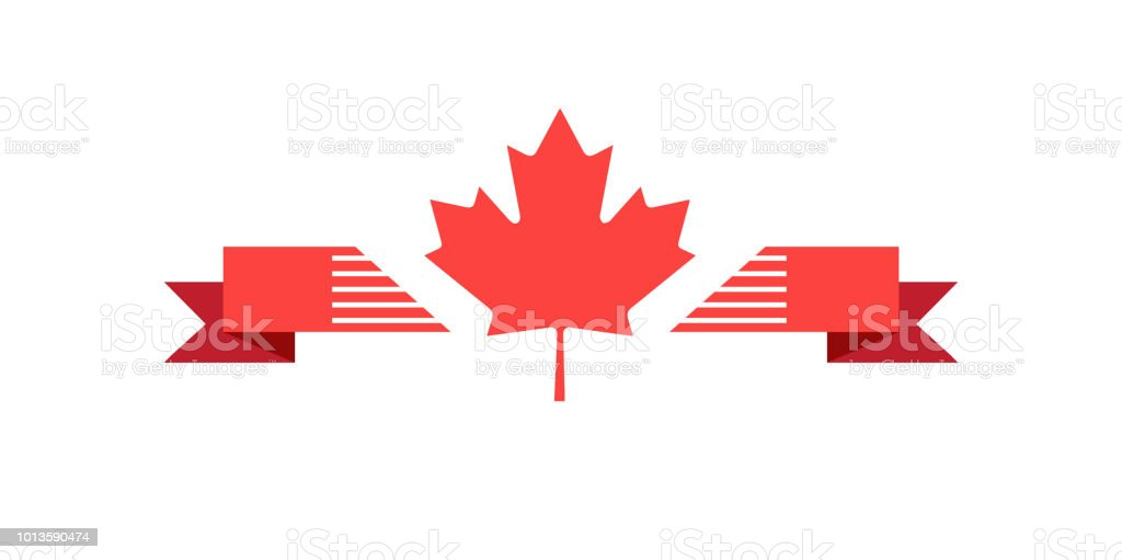 Happy Canada Day Red Maple Leaf Ribbon Banner vector art illustration