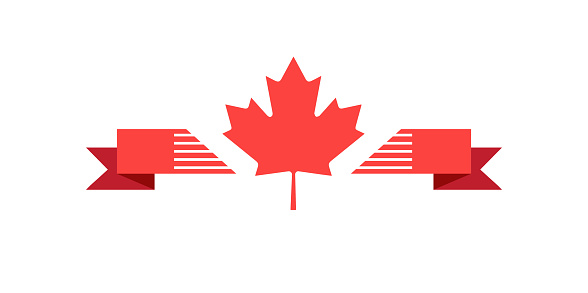 Happy Canada Day Red Maple Leaf Ribbon Banner Stock Illustration - Download Image Now