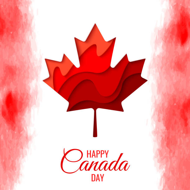 happy canada day vector holiday poster - canada day stock illustrations