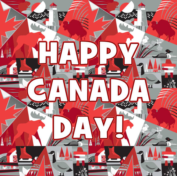 Happy Canada Day! Happy Canada Day! Vector illustration. peggy's cove stock illustrations