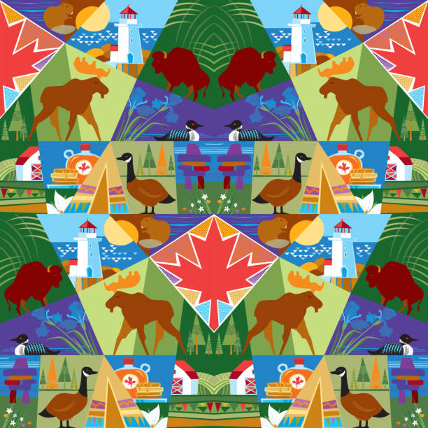 Happy Canada Day! Canada Day. Seamless Pattern. Vector illustration. peggy's cove stock illustrations