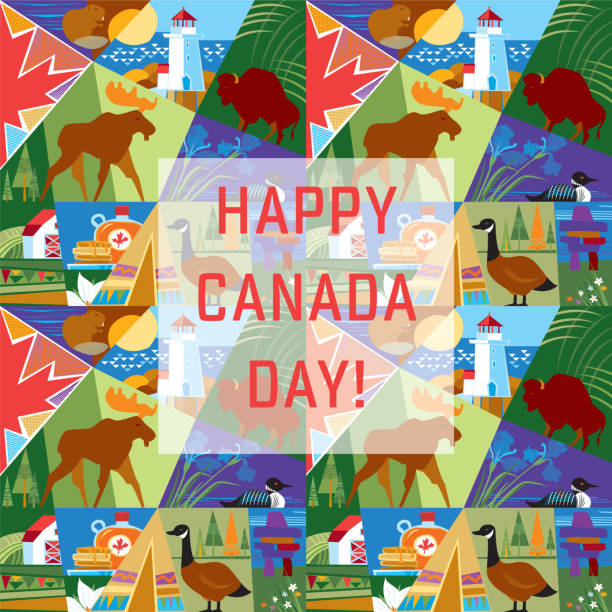 Happy Canada Day! Canada Day. Vector illustration. peggy's cove stock illustrations