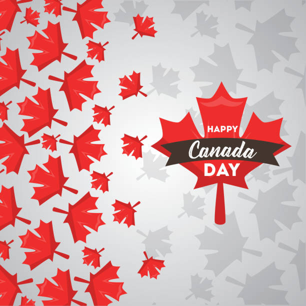 happy canada day happy canada day red maple leaves falling card vector illustration canada day illustrations stock illustrations