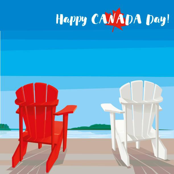Happy Canada Day Happy Canada Day! Vector illustration. adirondack chair stock illustrations