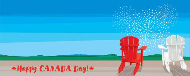 Happy Canada Day! Happy Canada Day! Vector illustration. adirondack chair stock illustrations