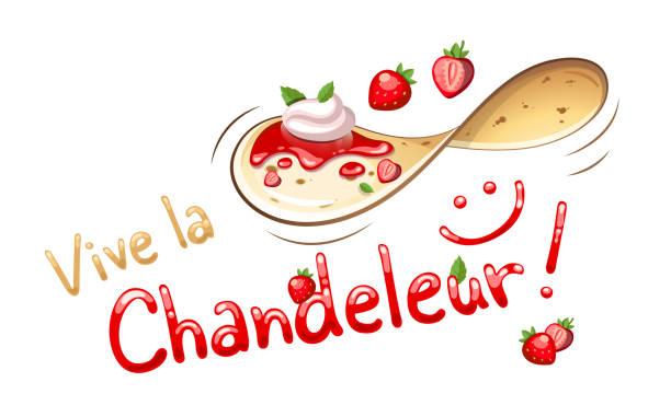 bildbanksillustrationer, clip art samt tecknat material och ikoner med glad candlemas i franska: vive la chandeleur - crepe