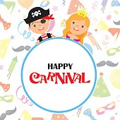 Happy carnival card. Pirate and princess with poster.