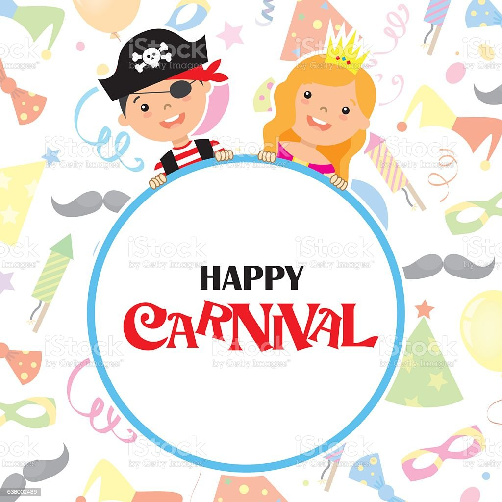 Happy carnival card vector art illustration