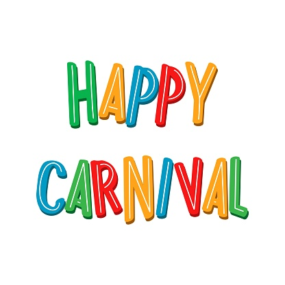 Happy Carnival Festive bright illustration. Hand drawn lettering with isolated on white background. Popular Happy Carnival Event in Brazil, Spain, USA, Italy.
