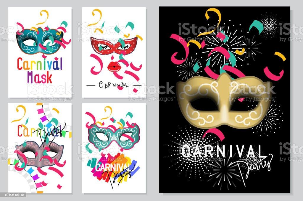 1088a7831 Ilustración de Feliz Carnaval Festivo Concepto Conjunto Colección De ...