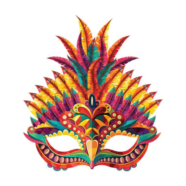 stockillustraties, clipart, cartoons en iconen met gelukkig carnaval feestelijke concept met muzikale trompet masker. carnaval masker. vectorillustratie - kostuum