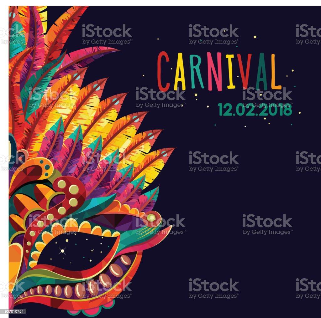 Concepto festivo carnaval feliz con máscara de trompeta musical. Máscara de carnaval. Ilustración de vector - ilustración de arte vectorial