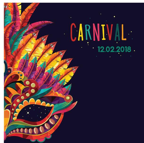 illustrations, cliparts, dessins animés et icônes de concept festif de joyeux carnaval avec masque musical trompette. masque de carnaval. illustration vectorielle - carnaval