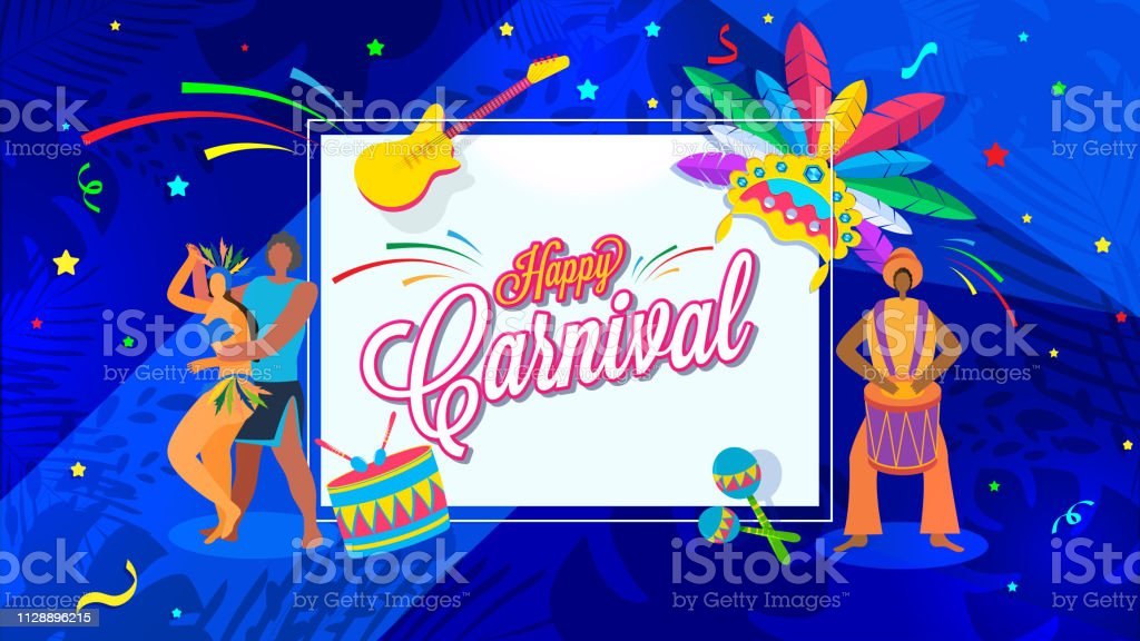 Happy Carnival Poster Or Banner Design With Dancing People Character And Other Festival Elements On Blue Background Stock Illustration Download Image Now Istock