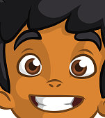 Happy cartoon afro-american or arab boy face. Vector illustration of a little kid face avatar. Portrait of a boy smiling