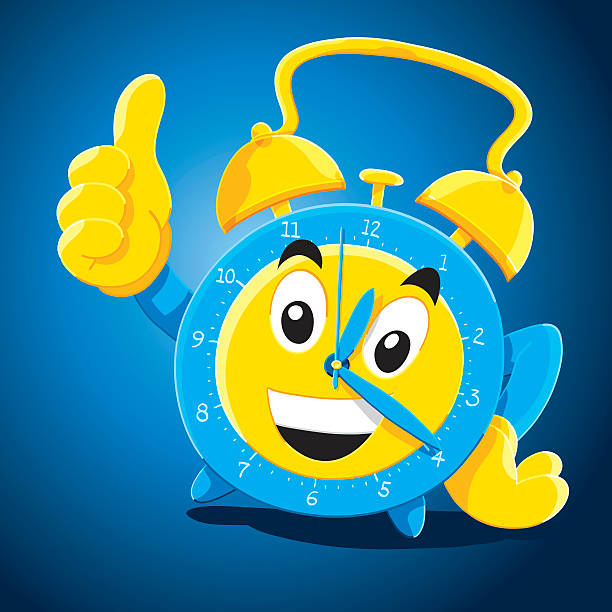 "Happy Cartoon Alarm Clock Thumbs Up Vector Illustration of a cute cartoon alarm clock with a ""thumbs up"" hand. The background is on a separate layer, so you can use the illustration on your own background. The colors in the .eps-file are ready for print (CMYK). Included files: EPS (v8) and Hi-Res JPG. cartoon character figure stock illustrations"