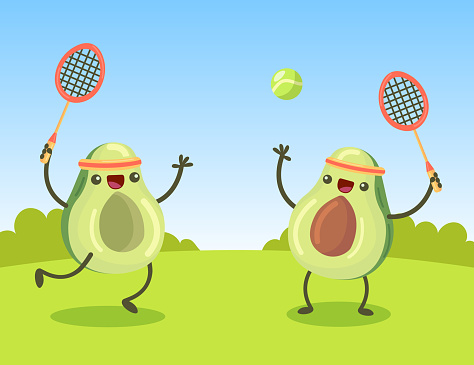 Happy cartoon avocado characters playing tennis on lawn