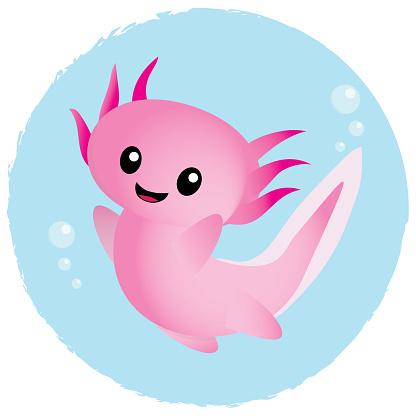 Happy cartoon axolotl