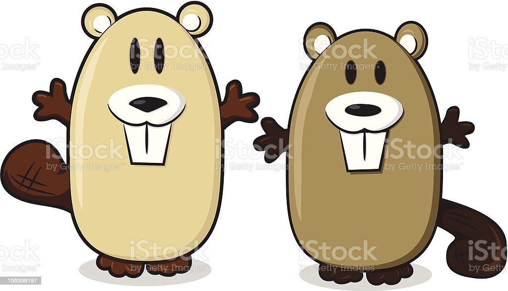 Happy Cartoon Beavers vector art illustration