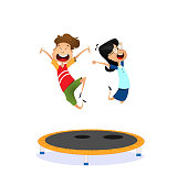 Happy cartoon boy and girl jumping on the trampoline
