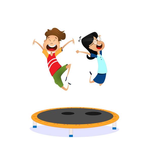 stockillustraties, clipart, cartoons en iconen met happy cartoon jongen en meisje springen op de trampoline - mini amusementpark
