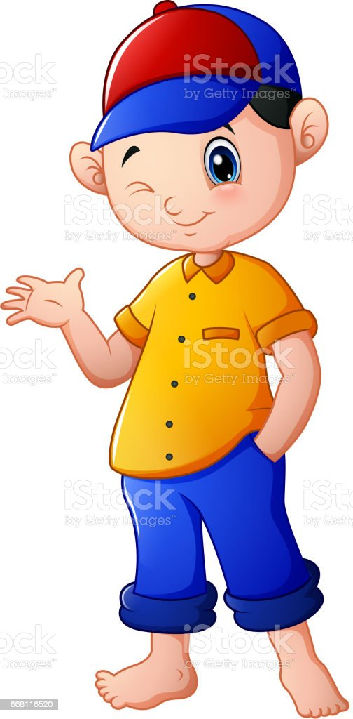 Happy Cartoon Boy Waving Stock Illustration Download Image Now