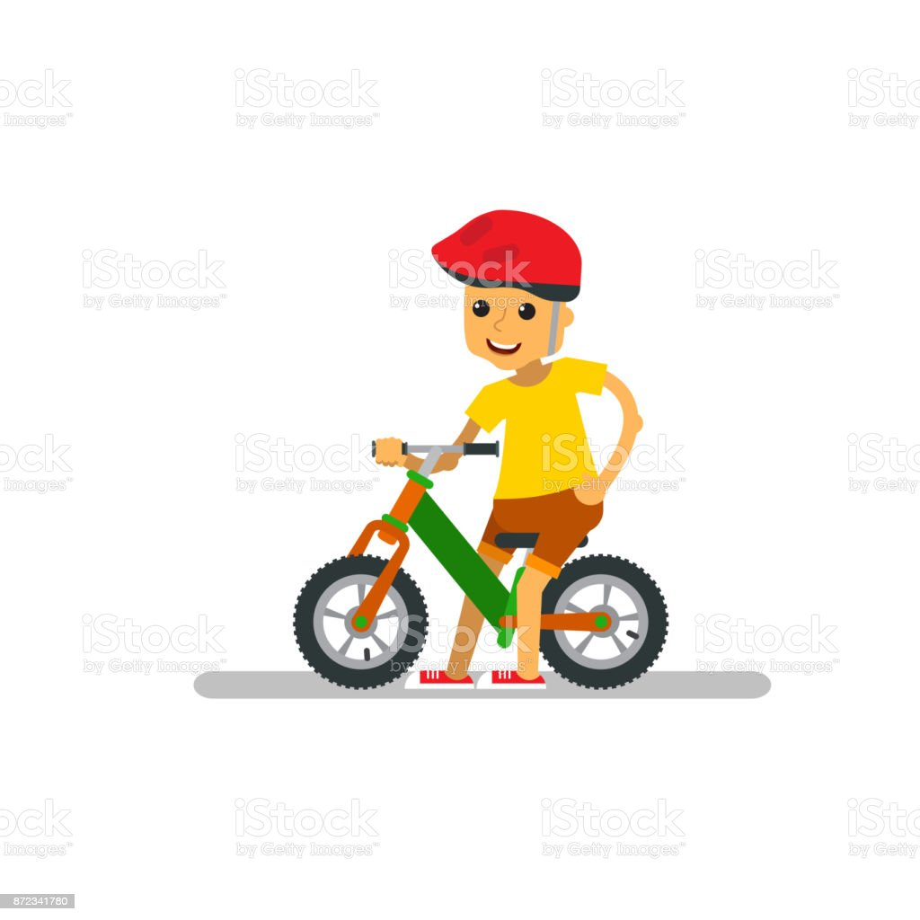 Happy cartoon boy with balance bike on isolated. vector art illustration