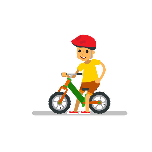 Happy cartoon boy with balance bike on isolated. vector art illustration
