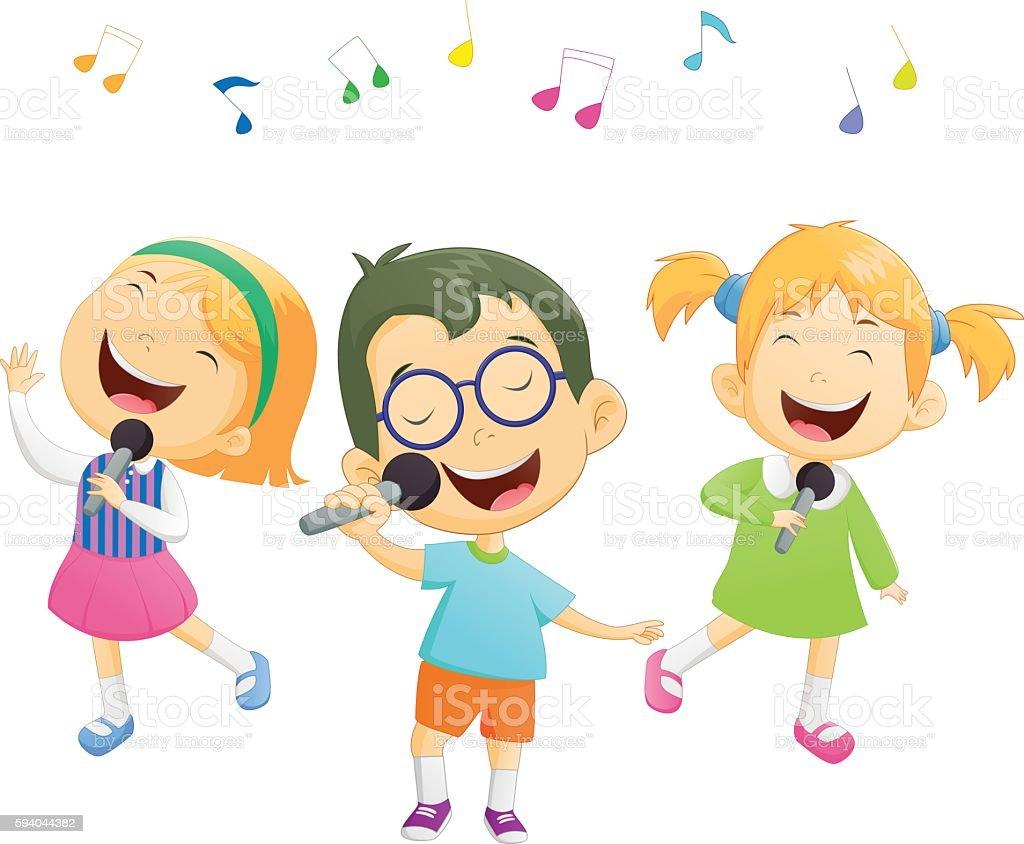 Happy cartoon boys and girls singing vector art illustration
