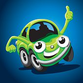 "Vector Illustration of a cute green cartoon car with a ""thumbs up"" hand. The background is on a separate layer, so you can use the illustration on your own background. The colors in the .eps-file are ready for print (CMYK). Included files: EPS (v8) and Hi-Res JPG."