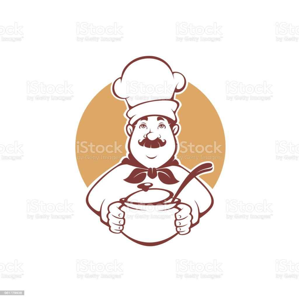 Ilustración De Chef De Dibujos Animados Feliz Sosteniendo