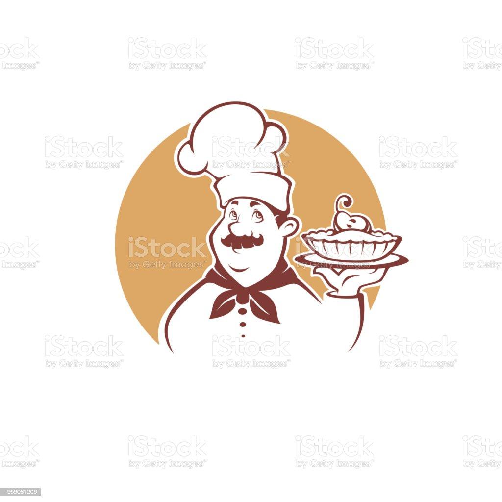 Ilustración De Chef De Dibujos Animados Feliz Con Una Tarta