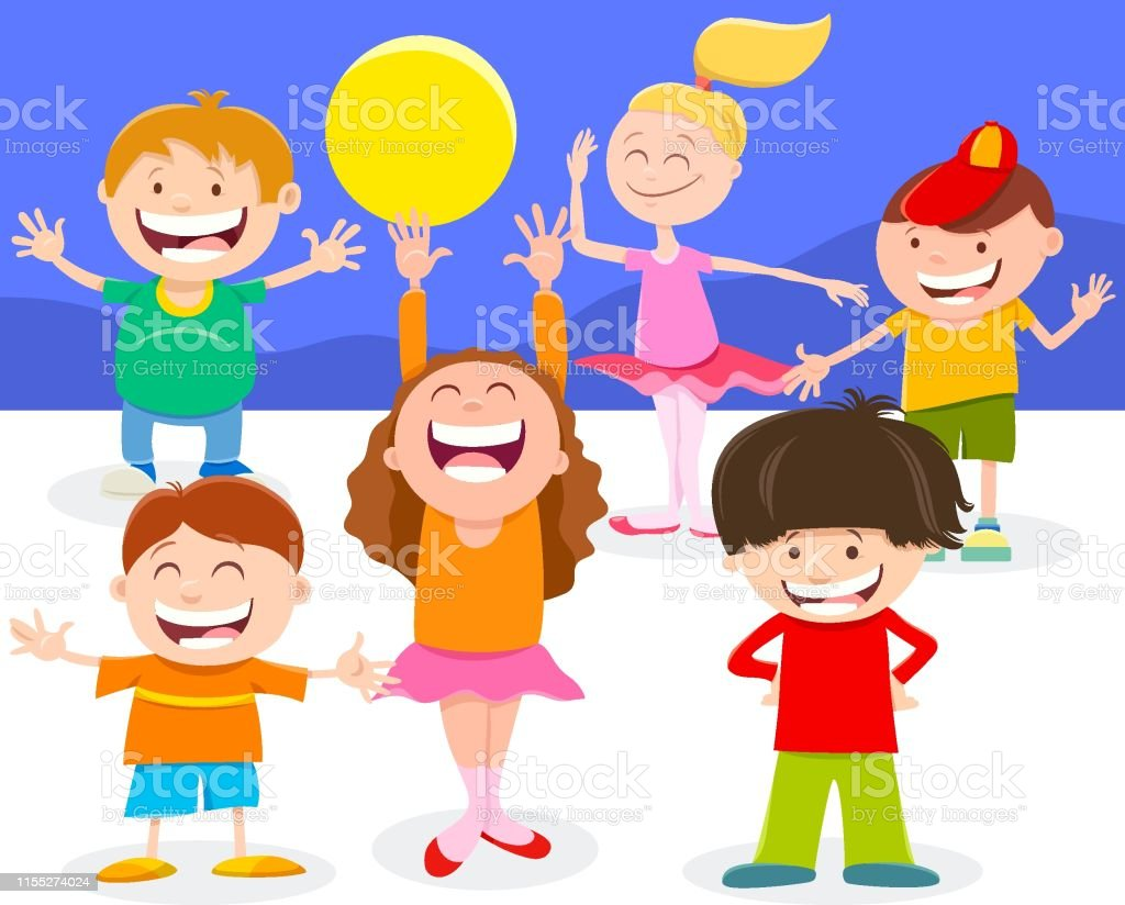 Cartoon Illustration of Happy Elementary Age Kids or Teen Characters...
