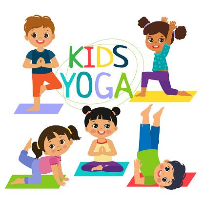 happy cartoon children practicing yoga yoga poses
