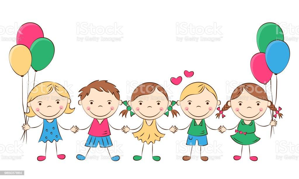 Dibujos Caras De Niños Felices Animadas: Ilustración De Niños Felices De Dibujos Animados Y Más