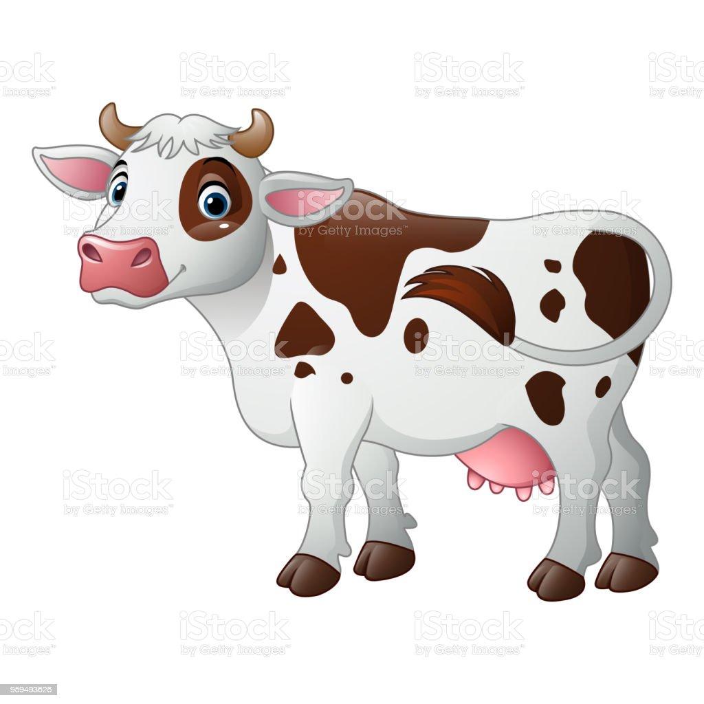 カットイラストハッピーな牛 イラストレーションのベクターアート素材